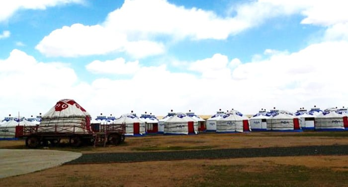 Rows of yurts in Xilamuren grasslands