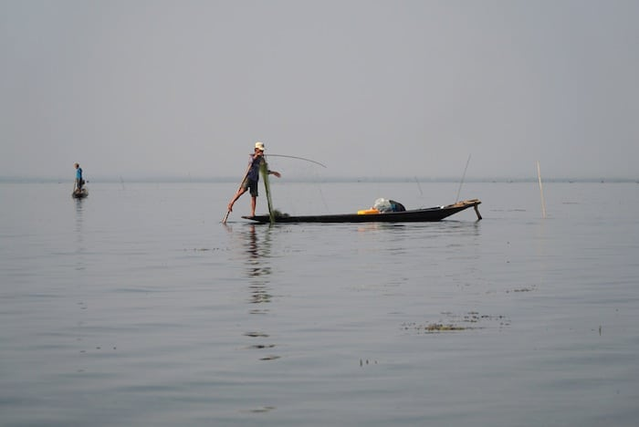 A fisherman at work on Lake Inle