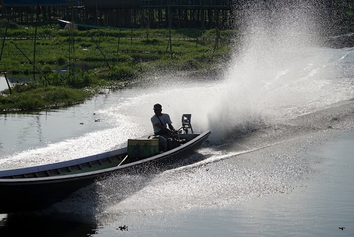 Motor canoe on Lake Inle