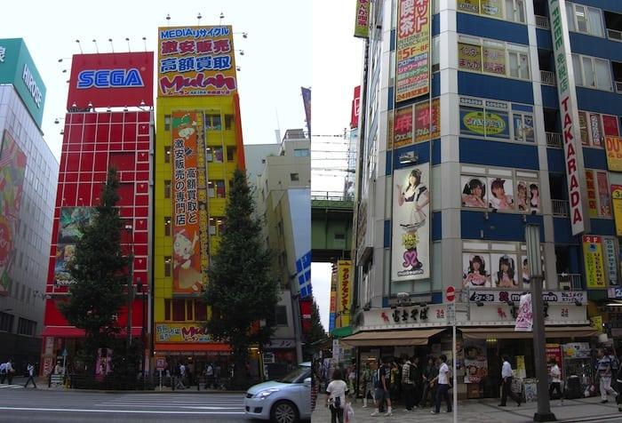 Maid café and arcades in Akiba