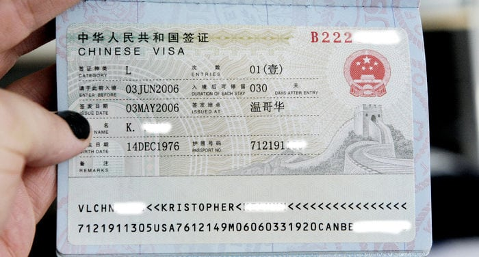 travel visa for China