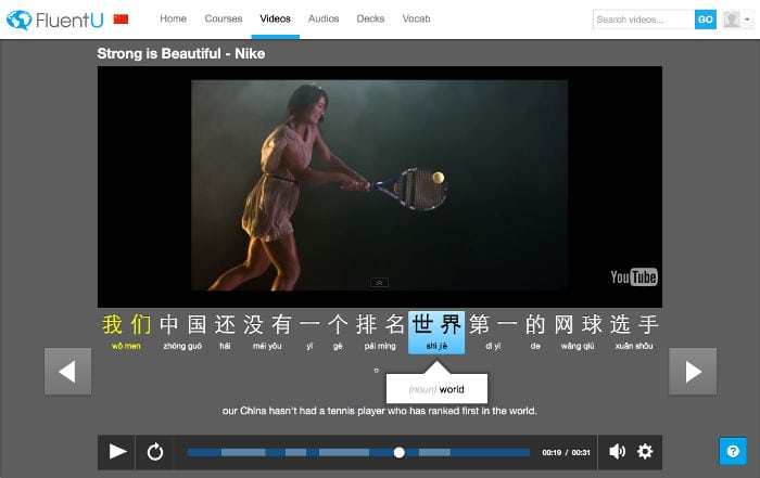 Fluentu aprende chino mediante vídeos