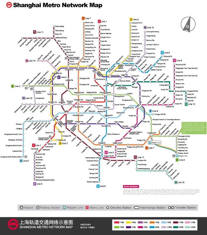 mapa del metro de Shanghai