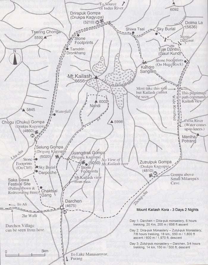 Mapa del monte Kailash