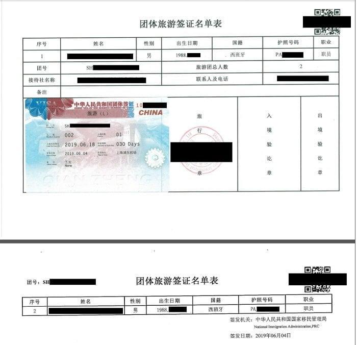 ejemplo visado grupo china