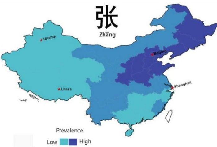 Distribución de los apellidos chinos