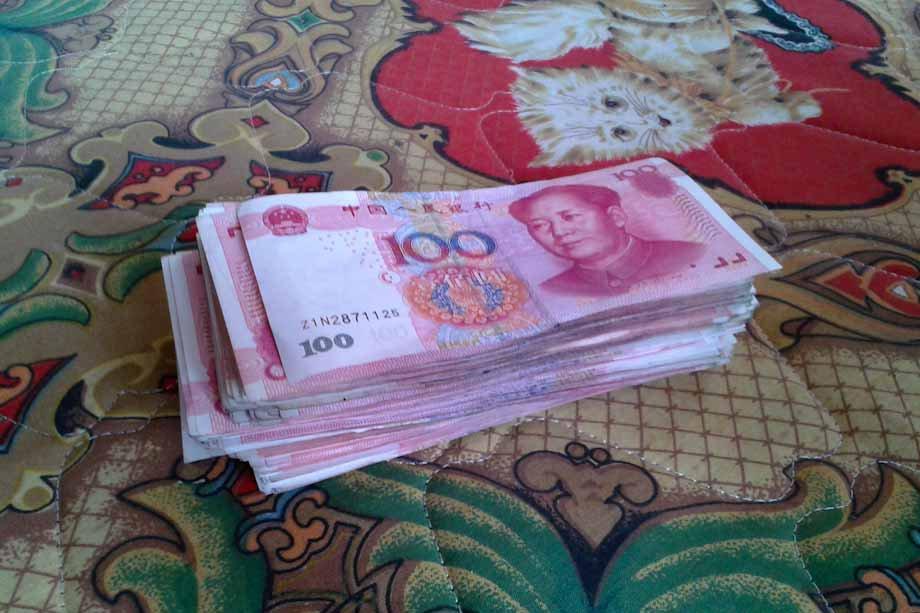 pagare in contanti in Cina