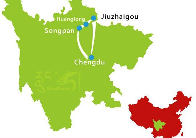 mappa jiuzhaigou