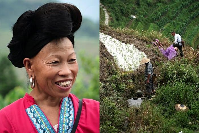 Una donna di etnia Yao e due agricoltori al lavoro