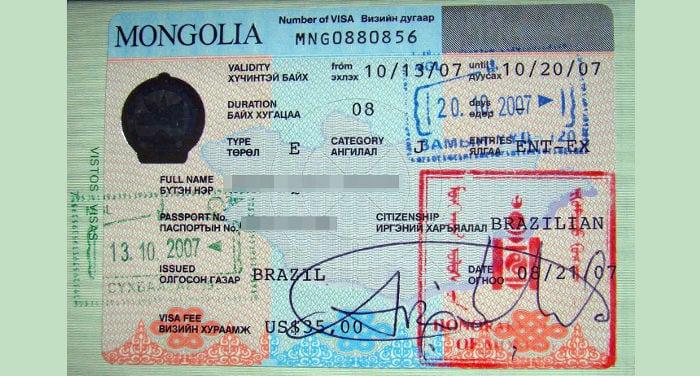 visto per la Mongolia