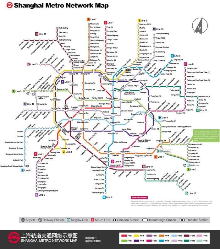mappa della metro di Shanghai