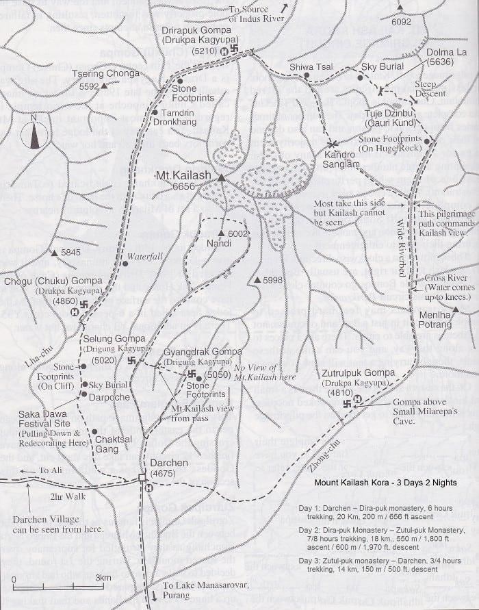 Mappa del Kailash Kora